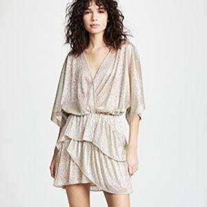 IRO Ruffled Lamé Mini Dress